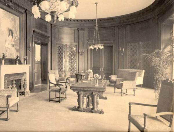 Photo shows the oval living room which was the centerpiece of the main floor of the Guggenheim Mansion